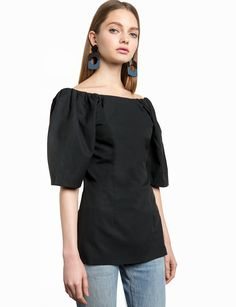 Black Balloon Sleeve Long Top