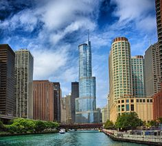 Downtown Chicago (including the Trump Tower) as seen from the river on a Wendella or Shoreline Cruise boat.