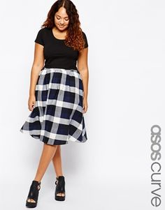 ASOS CURVE Plus Size Midi Skirt In Checks