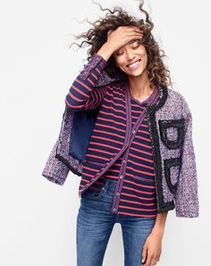 J.Crew women's tweed lady jacket with sparkly trim, metallic trim striped cardigan and toothpick jean in Ashford wash.
