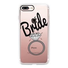 """""""""""Bride"""""""" Black Typography and Wedding Ring- Transparent - iPhone 7... (125 BRL) ❤ liked on Polyvore featuring accessories, tech accessories, iphone case, iphone cover case, iphone cases, apple iphone case and transparent iphone case"""