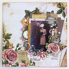 Treasured Moments Layout By Alicia McNamara Vintage Scrapbook, Wedding Scrapbook, Scrapbook Cards, Scrapbooking Layouts, Digital Scrapbooking, Photo Layouts, Paper Crafts, In This Moment, 2 Photos