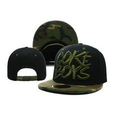 """Coke Boys """"Camo"""" Snapback Hat get it at http://streetwearhub.com/new-releases/coke-boys-camo-snapback-hat-black-green"""