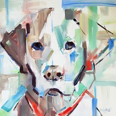 """Good Boy"" abstract impressionistic painting of a labrador by artist Gina Brown"