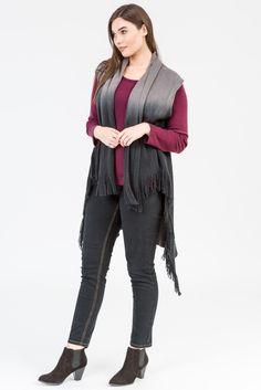 Merlot style. Wine colour fashion. Cardigan. Merino. Plum colour. Knitwear. Black denim. Ombre vest. Black boots, K+K women's plus size fashion sizes 10-26.