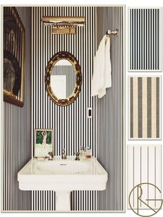 Classic and regal, the black and white stripe translates to sophistication. Clockwise from top left: Farrow and Ball Closet Stripe, Wide Strip Raffia by Phillip Jeffries, and Schumacher Gabrielle Stripe