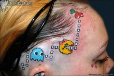 PAC-MAN head tattoo: Tattoos of Classic Video Games - Permanent Pacman Ink for Extreme(. Insane Tattoos, Terrible Tattoos, Weird Tattoos, Funny Tattoos, Tattoos For Guys, Cool Tattoos, Tatoos, Gamer Tattoos, Pac Man