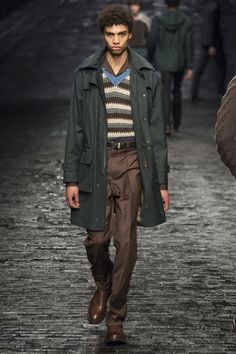 dark emerald green, parka, cuban collar | Corneliani Fall 2016 Menswear Fashion Show