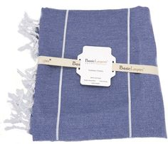 "Basic Layers 100% Cotton Pestemal Turkish Bath Towel, 37x70"", Navy Blue"