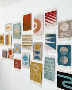 a wall of geometric weavings that I made for my online course, showing the different techniques that I teach Weaving Wall Hanging, Weaving Art, Tapestry Weaving, Loom Weaving, Hand Weaving, Braided Rag Rugs, Rug Texture, Textile Artists, Loom Knitting