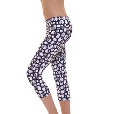SIZE L/L Skull  Onzie Capri Pant - Hot Yoga Clothing, Bikram Yoga Clothes, Core Power Yoga