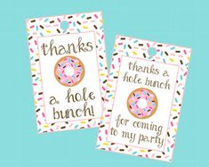 Donut Favor Tags. Thanks A Hole Bunch. Instant Digital Download. Donut Party, Doughnut Party, Donut Baby Shower, Party Favor Tag, Sprinkles