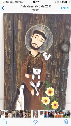 Quadro Catholic Art, Catholic Saints, Religious Art, Francis Of Assisi, St Francis, Fantasy Paintings, Fantasy Art, Patron Saint Of Animals, Art Populaire