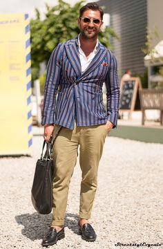 Striped jacket / khakis
