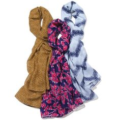 """www.youravon.com/genellebeyer.Nothing dresses up a casual outfit quite like a scarf. With this pack of 3 scarves, you can take your pick. Each pack contains 1 white with blue zig-zag print, 1 purple with red floral print and 1 gold with light gold dotted pattern print.· 100% Polyester· Scarf Measurement: 72"""" x 18"""" each· Cleaning Instructions: Wipe with a dry cloth· Imported"""