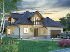Projekat atraktivne kuće s potkrovljem i garažom – Svetonius Modern Exterior House Designs, Dream House Exterior, Exterior Design, Village House Design, Village Houses, House Layout Plans, House Layouts, Cottage House Plans, Cottage Homes