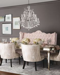 Tiffany+Chair,+Isabella+Banquette,+&+Eliza+Dining+Table+by+Haute+House+at+Horchow.
