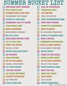 Summer Fun Bucket Lists