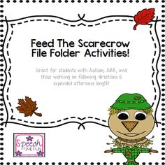 Speech Time Fun: Feed The Scarecrow! (Great for students with Autism, ABA, expanding utterance length, and more!) Pinned by SOS Inc. Resources. Follow all our boards at pinterest.com/sostherapy/ for therapy resources.