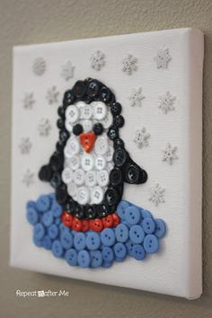 Penguin Button Craft ¦ No-sew on canvas Great as a pillow too!