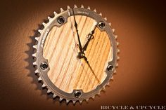 Upcycled bike chainring gear parts clock with by BICYCLEandUPCYCLE