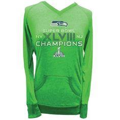 Seattle Seahawks Super Bowl XLVIII Champions Ladies Tri-Blend V-Neck Kangaroo Pocket Long Sleeve T-Shirt - Action Green