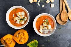 Stock Photo : Butternut squash cream soup Easy Soup Recipes, Pumpkin Recipes, Fall Recipes, Diet And Nutrition, Superfoods, Butternut Squash Benefits, Sopas Light, Quinoa Salat, Pumpkin Pie Smoothie