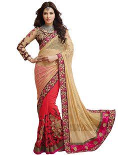 Latest  attractive beige and red designer saree
