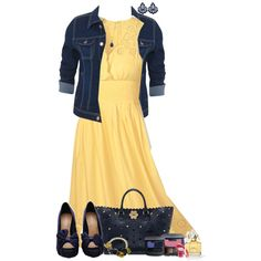 Yellow Sundress by lmm2nd on Polyvore featuring Only Limitless, Mulberry, Tità Bijoux, Dorothy Perkins, Bare Escentuals and Marc Jacobs