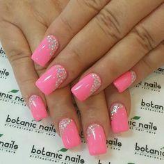Elegant Gel Nail Art Designs 2018 - style you 7 Fancy Nails, Pink Nails, Cute Nails, Pretty Nails, My Nails, Gel Nail Art Designs, Short Nail Designs, Cute Nail Designs, Botanic Nails