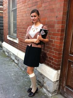 Dublin Street Style - Artist Berry rocks the A/W trend, 'chic school girl'. Luv the cream knee highs worn over nude sheers.