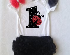 Items similar to Baby Girl first birthday ladybug Outfit- b-day one-sie, first birthday outfit - Toddler girl,  Baby Girl personalized , 1st Birthday  girl on Etsy