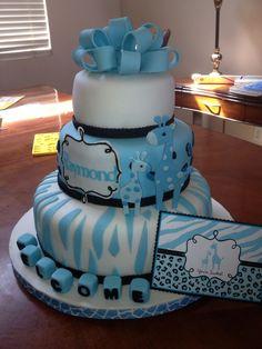 12, 9, and 6 inch giraffe theme baby shower cake