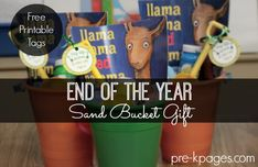 Printable Beach Bucket Gift Tags for End of the Year Gifts