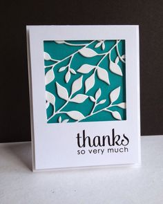 By Lisa A. Die cut a square frame; cut a teal background & stamp the…