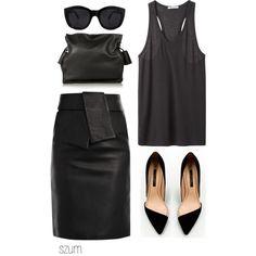 black leather skirt / black muscle tank (modern) / pointy toe heels / clutch