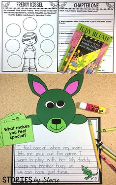 Kangaroo craft, comprehension questions, vocabulary, graphic organizers, and writing prompts to use with The One in the Middle is the Green Kangaroo by Judy Blume.
