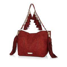 Dunkelorte Fransen-Handtasche aus Wildlederimitat - Schultertaschen - Taschen/Geldbörsen - Damen