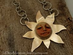 Shine Bright- hand fabricated necklace in mixed metals of 14k gold fill and sterling $115.00 by JoDeneMoneuseJewelry