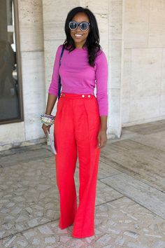 Color-block trousers + a thin knit + quirky accessories