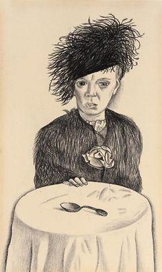 Lucian Freud - Ada, 1948, Conté on paper