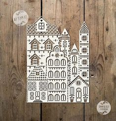Little Town Design SVG PDF Papercutting Template to print