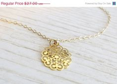 ON SALE Gold necklace charm  Gold flower necklace by HLcollection