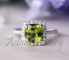 Febulous Halo Cushion Cut Peridot Ring Solid by AdamJewelry but instead of Peridot, do an Emerald:) Diamond Rings, Diamond Engagement Rings, Ruby Rings, Peridot Jewelry, Anniversary Jewelry, Green Peridot, Pretty Rings, Diamond Are A Girls Best Friend, Wedding Ring Bands