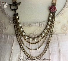 Dragonfly Pearls and chains Necklace featuring a Dragonfly clasp multi strand bronze chains white Swarovski Pearls and maroon flower - Wedding nacklaces (*Amazon Partner-Link)