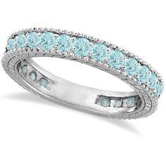 Allurez Aquamarine Eternity Ring Anniversary Band 14k White Gold... ($915) ❤ liked on Polyvore featuring jewelry, rings, antique white gold ring, 14k ring, anniversary rings, band rings e antique rings