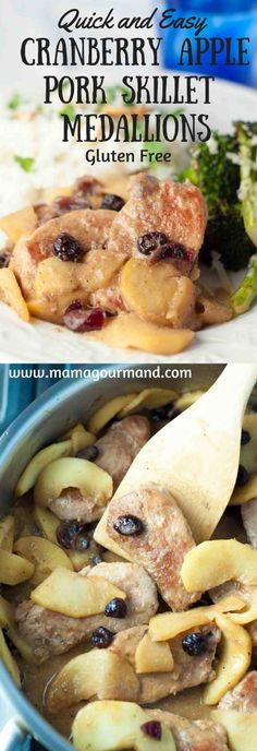 Cranberry Apple Skillet Pork Medallions makes a deliciously easy, gluten free weeknight dinner. You can whip it up and be enjoying it in no time. http://www.mamagourmand.com