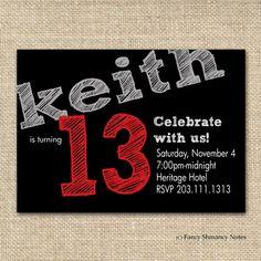 Teen Boy's Birthday Invitation, Chalkboard Design for boys, Printable Invitation File