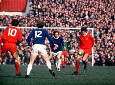 Liverpool 2 Everton 1 in March 1971 at Old Trafford. Emlyn Hughes comes forward for Liverpool in the FA Cup Semi Final. Liverpool Players, Liverpool Fc, Emlyn Hughes, Peter Beardsley, Liverpool Images, Andy Carroll, Merseyside Derby, Fernando Torres