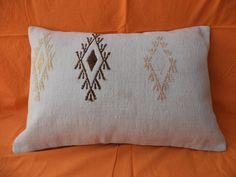 """White Turkish Kilim Lumbar Pillow,14""""x20"""" inch Turkish Handwoven White Cotton Kilim Rug Pillow,Traditional Cotton Woven Kilim Pillow."""